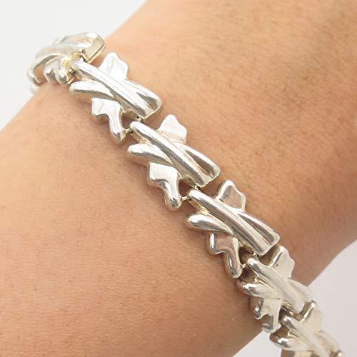 Italy 925 Sterling Silver Modernist Link Bracelet 7