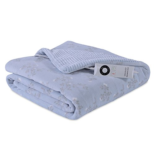 Berkshire Blanket Heated Intellisense-Floral Branches Electric Throw Blanket Blue