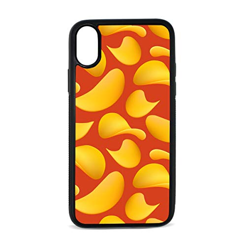 Case for iPhone Potato Chips Snacks Thin and Crisp Digital Print TPU Pc Pearl Plate Cover Phone Hard Case Cell Phone Accessories Compatible with Protective Apple Iphonex/xsCase 5.8 Inch