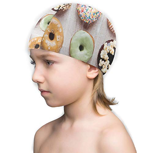 Perfectly Customized Kids Swim Cap Images of Coffee and Donuts Toddler Swimming Caps for Boys Girls Children Junior Swim Hat No-Slip Bathing Cap Age 3-12, Keeps Hair Clean (Nemo Swim Cap)