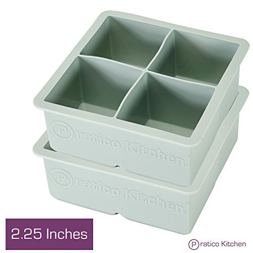 Large Ice Cube Mold - Makes 4 Jumbo 2.25 Inch Big Ice Cubes - Prevent Diluting Your Scotch, Whiskey, & Cocktails - Keep Drinks Chilled with Praticube Large Ice Cube Trays - 2 Pack (Giant Wine Glass Cooler)