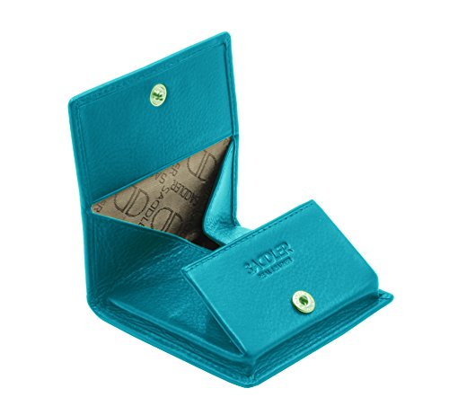 SADDLER Womens Real Leather Square Tray Coins and Key Purse - Teal Blue
