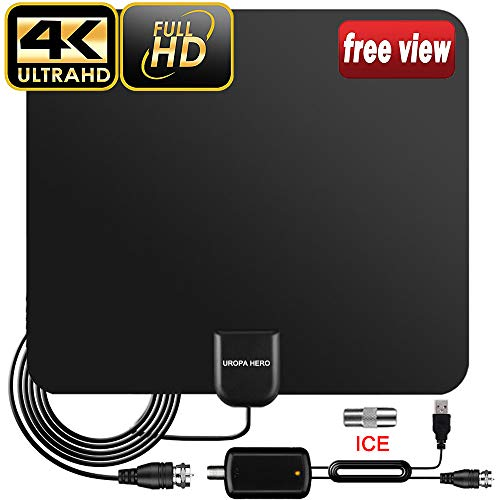 TV Aerial, 2019 Newest Indoor TV Aerial for Digital Freeview 4K 1080P HD VHF UHF for...