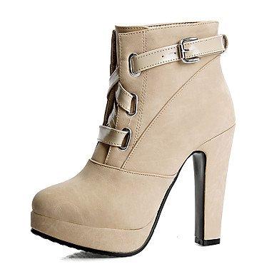 Botas de mujer invierno zapatos formales polipiel vestir casual Chunky talón hebilla Blushing Pink