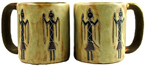 Mara Stoneware Mug - Yei Figures - 16 oz - Set of 6 Mugs and Free Mug Tree