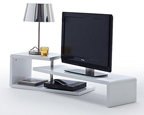 Agionda TV Lowboard Samira Weiss Hochglanz Lack Schwenkbar Drehbar TV Möbel Tisch Board Sideboard