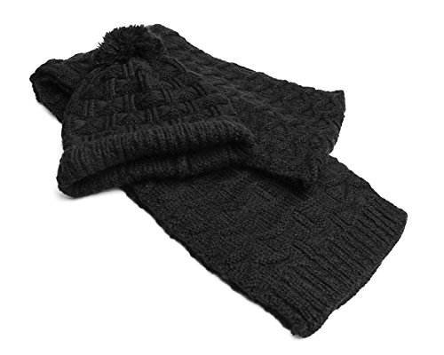 51d22ed387f Lanzom Women Lady Fashion Winter Warm Knitted Hat and Scarf Set Skullcaps ( Black)