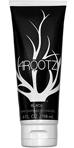 4RootZ Black Colored Hair Gel for Men and Women, Covers Gray Hair Roots, Hair Root Touch Up, Hair Dye and Root Cover Up -Black