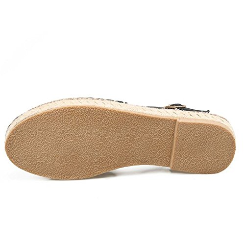 COOLCEPT Mujer Moda Ankle Strap Sandalias Cerrado Hebilla Zapatos Negro
