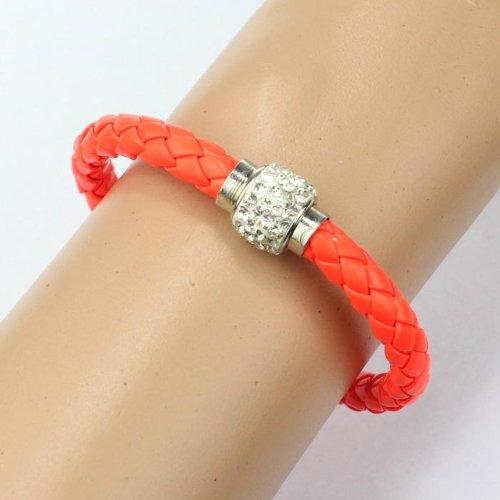 WoCoo Korean Fashion Woven Wristband Magnetic Rhinestone Buckle Leather Rope Bracelet (Orange)