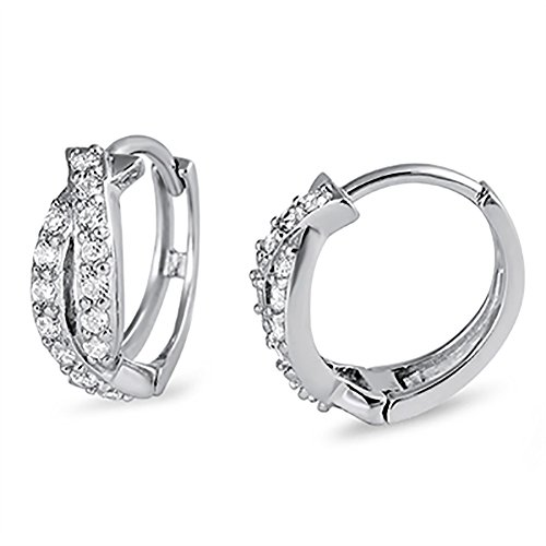 (Fashion Curvy Crisscross Twisted Hoop Huggie Earrings Round Simulated Cubic Zirconia 925 Sterling Silver Huggies)