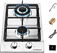 Gas Stove Gas Cooktop 2 Burners,12 Inches Portable Stainless Steel Built-in Gas Hob LPG/NG Dual Fuel Easy to C