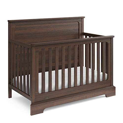 (Graco Sage 4-in-1 Convertible Crib (Vintage Walnut) - Full Panel Headboard, Easily Converts to Toddler Bed, Daybed or Full-Size Bed, 3-Position Adjustable Mattress Support Base)