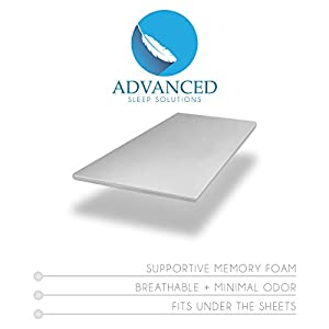 """Advanced Sleep Solutions Memory Foam Mattress Topper 2"""" Inch UltraComfort Full Size MediumSoft Support Pad CertiPUR-US Approved USA Made"""