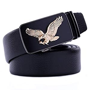 Mens Leather Adjustable Ratchet Belt – Eagle Belt For Men – Business Formal