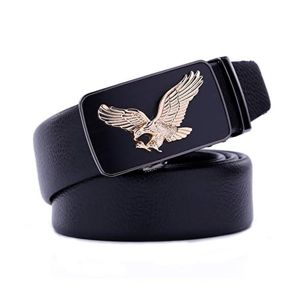 Mens Leather Adjustable Ratchet Belt - Eagle Belt For Men - Business Formal