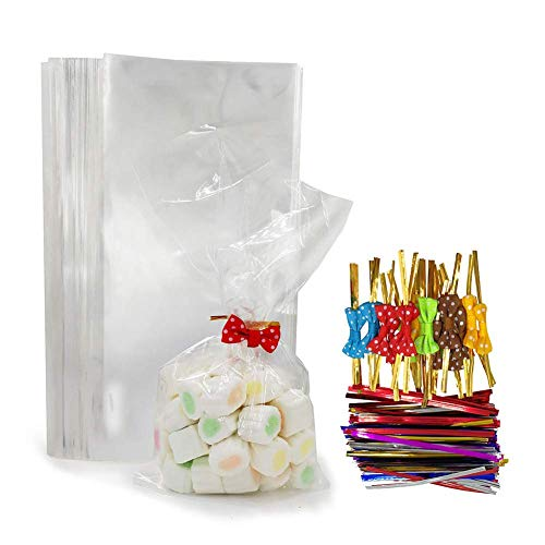 100 Clear Treat Bags with 100 Pcs Twist Ties 20 Bowknot 5 Colors,Clear Cellophone Bags Party Favor Bags for Cake Pop Popcorn Marshmallow Buffet Chocolate Cookie Wedding Supply (5'' x 10'') -