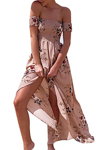 Maxi Printed Off Flower YMING Halter Dress Women's Beige Dress Sleeveless Sexy Romper Shoulder wcqcgzXOYZ