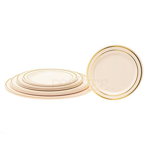DELUXE PLASTIC PARTY DISPOSABLE PLATES | 6 Inch Hard Wedding Dessert Plates | Ivory with Gold Rim, 40 Pack | Elegant & Fancy Heavy Duty Party Supplies Plates for all (Accessories Cake Plate)