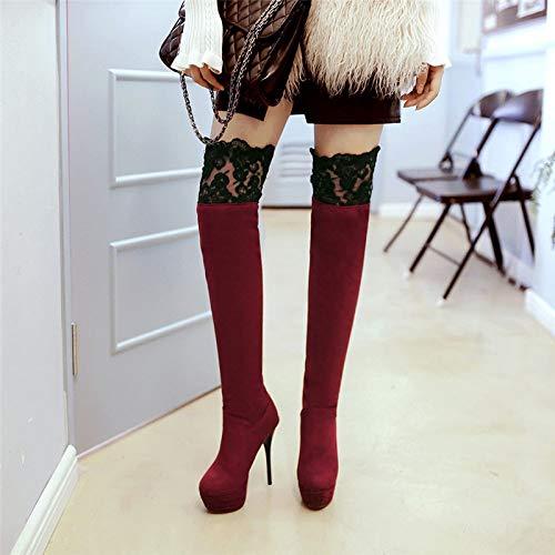 Sobre Rodilla Invierno Moda Mujeres Encaje A Qingmm Alto Suede Otoño Las Caballero De Botas Cómodas Hecho La Tacón Rojo Mano vpx0Xn