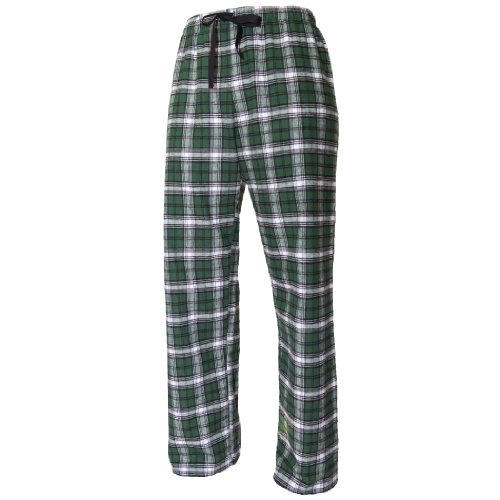 Flannel Pant with Tie Cord by Boxercraft, Boys Sizes, Large-Green/White