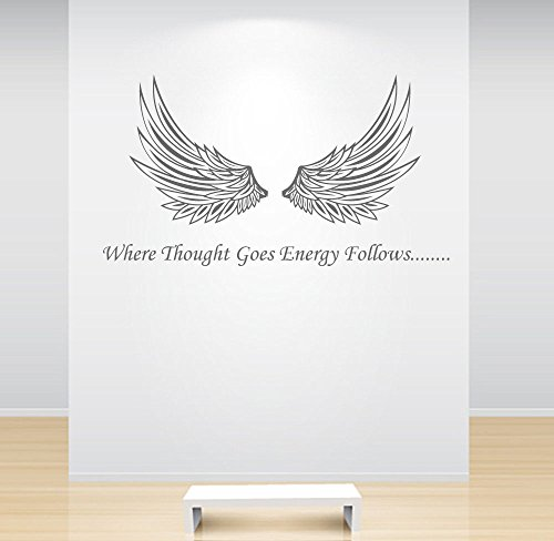 Angel Wings Wall Sticker Where Thought Goes Energy Follows Decal Quote Crystal Healing (Where To Buy Angel Wings)