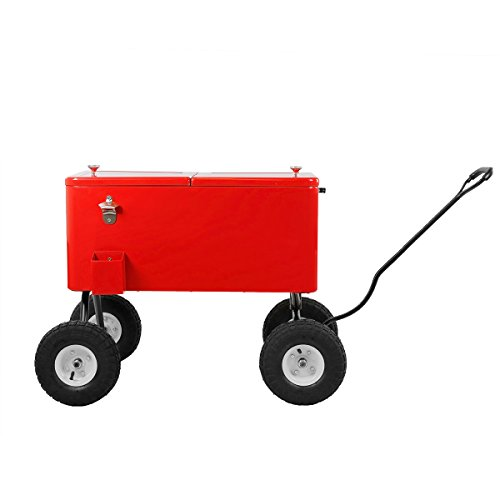 Clevr 80 Qt Party Wagon Cooler Rolling Cooler Ice Chest, Red, with Long Handle and 10'' All Terrain Wheels, Portable Patio Party Bar Cold Drink Beverage Chest, Outdoor Cooler Cart on Wheels by Clevr (Image #8)