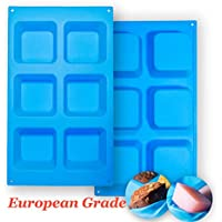 Aokinle 2-Pack of European Grade Silicone Square Molds for Soap Making