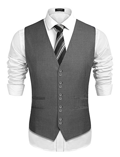 COOFANDY Men's 1920's Style Suit Vest Formal Skinny Slim Fit Wedding Waistcoat, Grey, X-Large