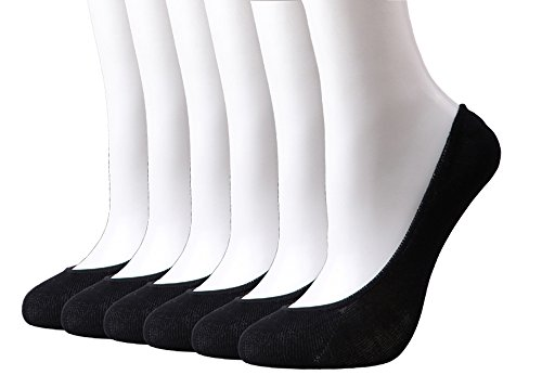 HeyUU Womens Bamboo Non Slip No Show Invisible Liner Socks 6-Pack with Box (6Pairs-Black, Shoe: (Ballet Slip Flats)