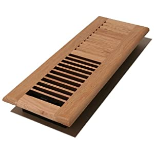 Decor Grates WL412-U 4-Inch by 12-Inch Wood Louver Floor Register, Unfinished Oak