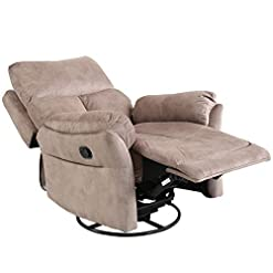 Living Room IOMOR Swivel Rocker Recliner Chair Soft Manual Reclining Chair for Living Room Modern Sofa with Overstuffed Armrest and…