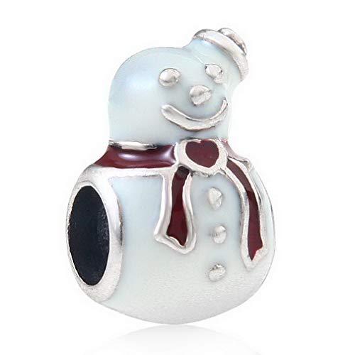 (CHAWIN 925 Sterling Silver Snowman Charm Beads ,Paired with Red Enamel for Family, Children or Friends at Christmas.)