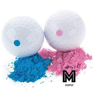 Mitha Supply Premium Gender Reveal Golf Ball Set   Exploding Golf Balls   Baby Shower Gender Reveal Party Supplies   Team Boy Girl  