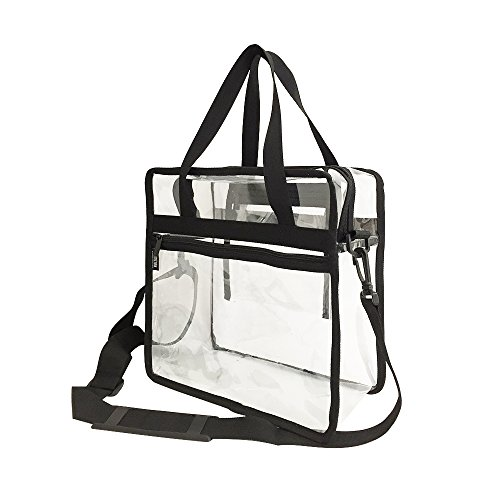 Clear Tote Bag Compliant with NFL & PGA Stadium Security Approved- 12'' x 12'' x 6'' - Sturdy PVC Transparent (12' Plastic Handle)