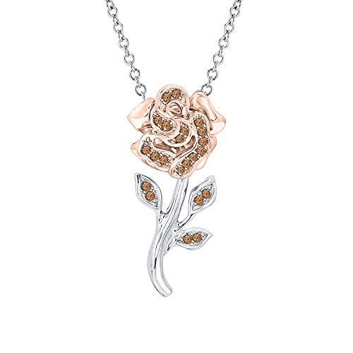 Beautiful Rose Flower Smoky Quartz Pendant Necklace 18k White & Rose Gold Over 925 Sterling Silver for Girl's ()
