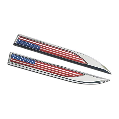 2X Metal Knife Dagger-Shaped USA Stripe and Stars Flag Badge Emblem Stickers Decal for Car Front Fenders Door Window Side Skirts Trunk Tailgate ()