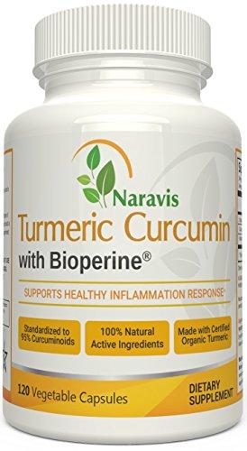Naravis Turmeric Curcumin with Bioperine - 95% Curcuminoids - 120 Veggie Capsules - Non-GMO Pain Relief - Anti Aging - Natural Anti-Inflammatory & Joint Support Supplement (Vinegar Infused Peppers In)