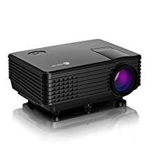 iClever Mini Projector LED HD Video Portable Multimedia Home Theater with HDMI/USB/VGA/AV, 1080p Support, Black