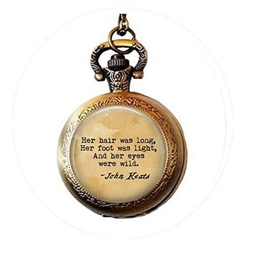 ohn Keats La Belle Dame Sans Merci poem locket Necklace - Her hair was long, Her foot Pocket Watch Necklace Charm Bible Quote Pendant - Keats La Belle