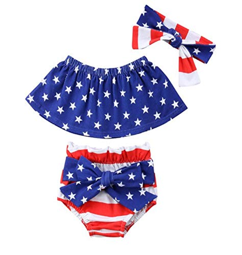 Styles I Love Infant Baby Girls Stars Stripes US Flag Design Sunsuit Romper Summer 4th of July Jumpsuit Patriotic Outfits (Tube Top+Bloomers, 70/3-6 Months)