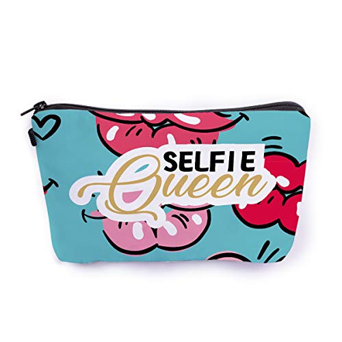 Ferosh Selfie Obsessed Printed Canvas Zipper Makeup Pouch/Trave Pouch/Cosmetic Bag/Vanity Bag (9 * 6 Inches…
