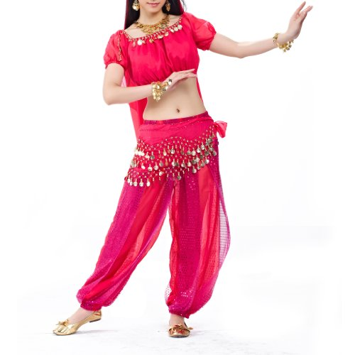 [BellyLady Belly Dance Tribal Harem Pants, Egyptian Lantern Pants For Christmas ROSERED] (Dance Hire Costumes)