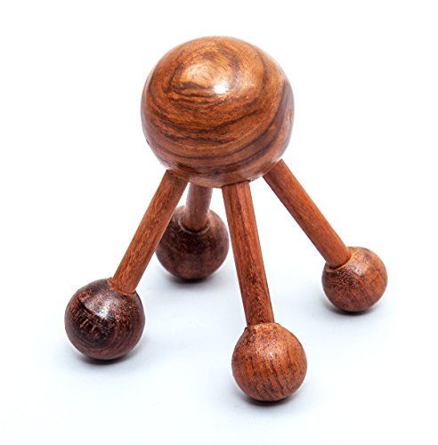 Wooden Acupressure Massager with 5-Knobs | Multi-Knobs for Assorted Pressure Points for Deep Tissue Massage