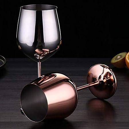 Copa de vino de acero inoxidable, mango de metal, irrompible, copas de vino blanco / cóctel / irrompibles, sin BPA, zumo, bebida, champán, fiesta, bar (oro rosa)