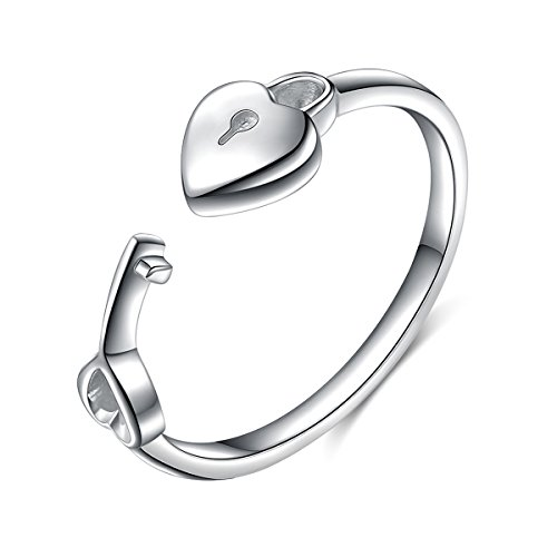 925 Sterling Silver Lock and Key Open Heart Ring for Women Jewelry ( Adjustable Rings )