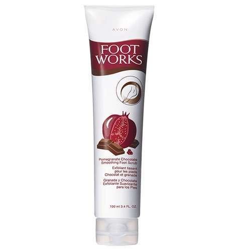 - Avon Foot Works Smoothing Foot Scrub Pomegranate Chocolate 3.4oz.