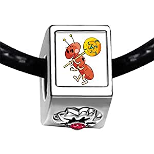 Chicforest Silver Plated Happy Lovely Ant Photo Red Zircon Crystal July Birthstone Flower Charm Beads Fits Pandora Bracelets