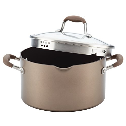 - Anolon Advanced Hard-Anodized Nonstick Covered Stockpot with Locking Straining Lid, 6-Quart, Bronze