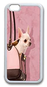 For Iphone 6 4.7 Inch Case Cover Handbag Chihuahua Hard shell pc Soft Case Back For Iphone 6 4.7 Inch Case Cover White